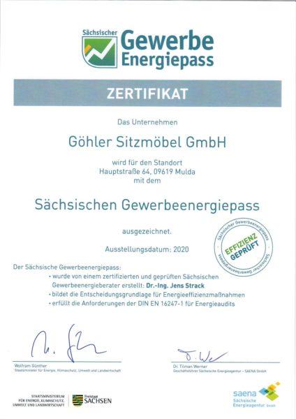 Urkunde Sächsischer Gewerbeenergiepass